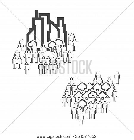 The Population Of The Big City And The Population Of The Suburbs Vector Line Icons.