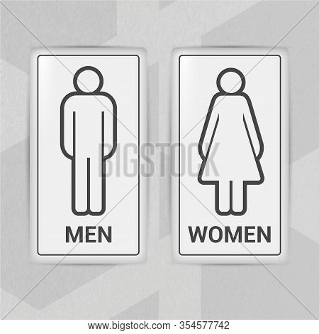 Wc, Restroom Vector Line Icon. Man And Woman Simple Sign. Realistic Door Sign Set.