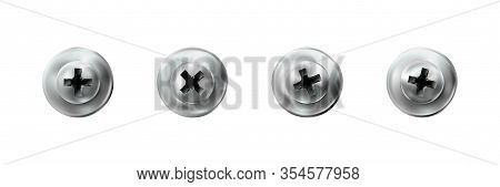 Set Self-tapping Screw With A Press Washer Galvanized. Metal Screws Heads, Silver, Grey Textured Bol