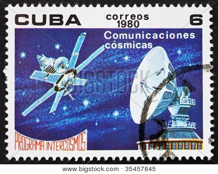 Postage stamp Cuba 1980 Satellite Communications, Intercosmos