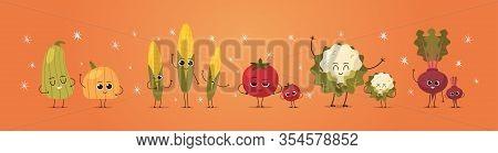 Cute Mascot Pumpkin Corn Tomato Radish Cauliflower Vegetables Characters Funny Cartoon Personages St
