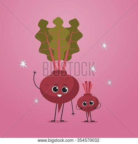 Cute Garden Radish Characters Funny Cartoon Mascot Vegetable Personages Healthy Food Concept Vector