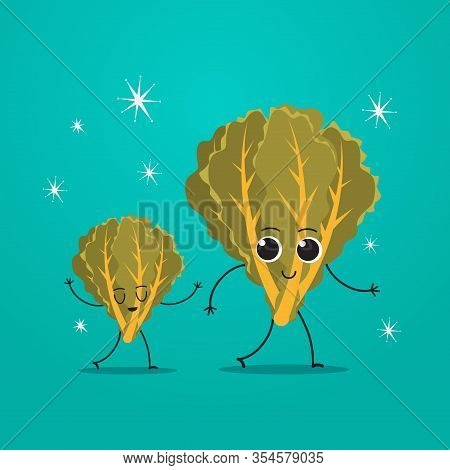 Cute Green Cabbage Lettuce Characters Couple Funny Cartoon Mascot Vegetable Personages Healthy Food