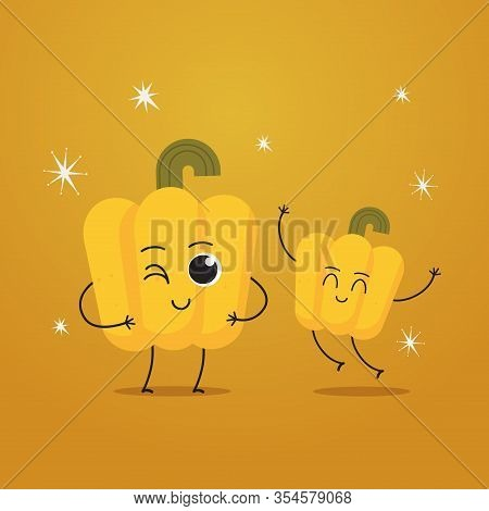 Cute Yellow Pepper Characters Funny Cartoon Mascot Vegetable Personages Healthy Food Concept Vector