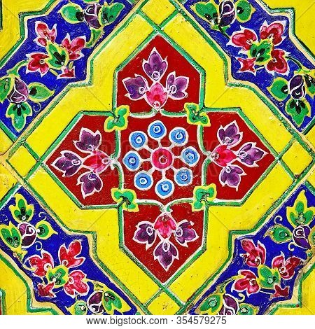 : Old Over 151 Year Wall Ceramic Tiles Patterns Handcraft From Thailand Temple Wall Public