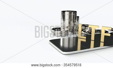 The Ltf On Mobile And  Gold Coins 3d Rendering For Business Content.