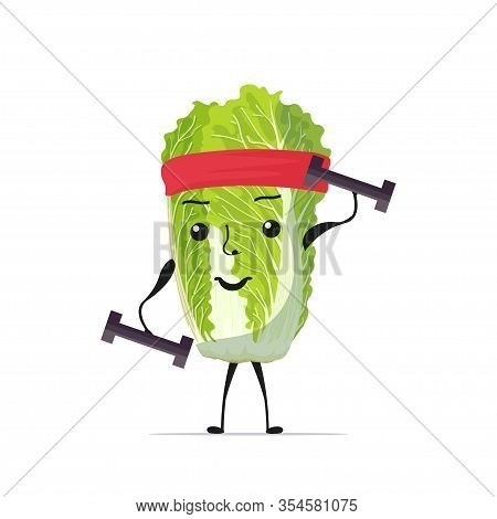 Cute Fresh Green Chinese Cabbage Character Exercising With Dumbbells Tasty Mascot Vegetable Personag
