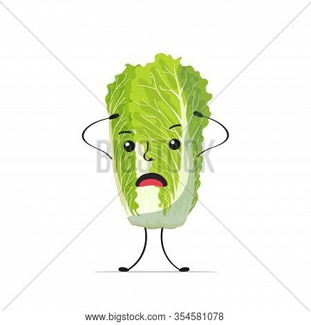 Cute Fresh Green Chinese Cabbage Character Holding Head Tasty Mascot Vegetable Personage Healthy Foo
