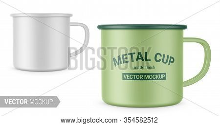Matte White Enamel Metal Cup. Photo-realistic Packaging Mockup Template With Sample Design. Vector 3