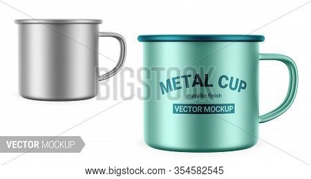 Metallic Gray Enamel Metal Cup. Realistic Packaging Mockup Template With Sample Design. Vector 3d Il