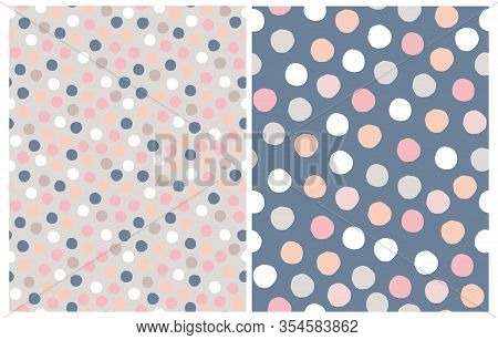 Cute Pastel Color Star Seamless Vector Patterns. Irregular Hand Drawn Simple Dotted Print. Tiny Polk