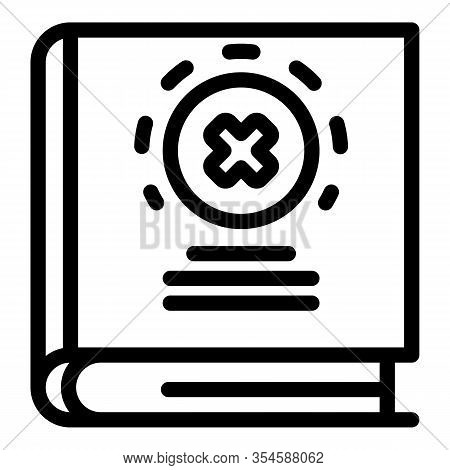 Fake Info Book Icon. Outline Fake Info Book Vector Icon For Web Design Isolated On White Background