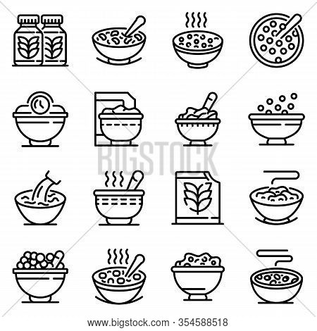 Cereal Flakes Icons Set. Outline Set Of Cereal Flakes Vector Icons For Web Design Isolated On White