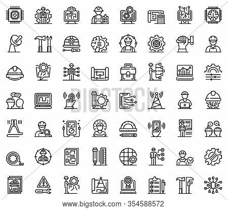 Communications Engineer Icons Set. Outline Set Of Communications Engineer Vector Icons For Web Desig