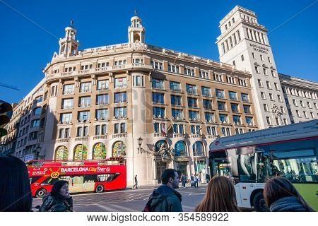 Barcelona, Spain - February 6, 2014: Banco Espanol De Credito Building Located In Famous Placa De Ca