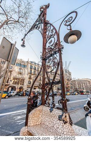 Barcelona, Spain - February 6, 2014: Beautiful Vintage Wrought Lantern Designed By Architect Pere Fa