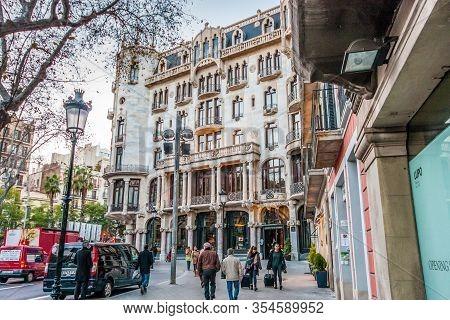 Barcelona, Spain - February 6, 2014: Facade Of Hotel Casa Fuster In Nicolas Salmeron Square Designed