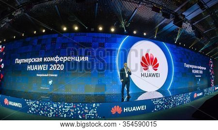 Moscow, Russia - March 3, 2020: Business Development Director Of Huawei Enterprise In Russia Denis S