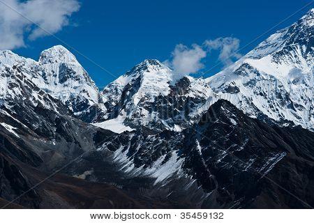 Himalaya peaks: Pumori Changtse Nirekha and side of Everest. Travel to Nepal poster