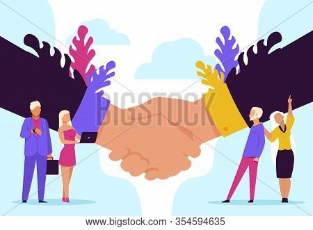 Handshake Concept. Cartoon Business Partnership And Agreement, Successful Meeting And Cooperation. V