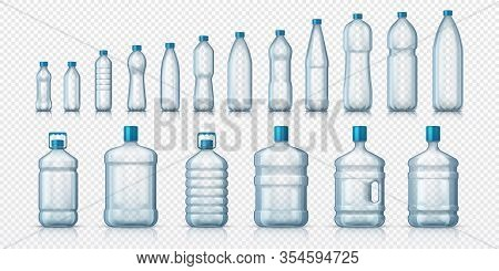 Empty Plastic Bottles. Realistic Transparent Container For Water Or Liquids, Isolated 3d Mockups For