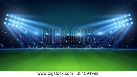 Realistic Football Arena. Soccer Playing Field At Night With Illuminate Bright Stadium Lights, Green