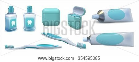 Realistic Dental Care. 3d Toothpaste In Tube, Pair Of Toothbrushes, Mouthwash And Dental Floss. Vect
