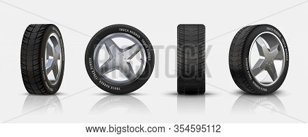 Realistic Car Tires. 3d Isolated Auto Tyres With Alloy Rims, Detailed Car Wheels With Disk And Rubbe
