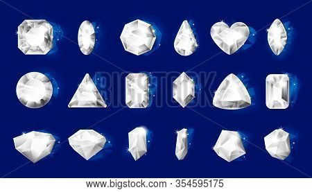 Realistic Diamonds. Realistic Jewel Stones With Shiny Edges, 3d Jewelry Transparent Crystals Of Diff