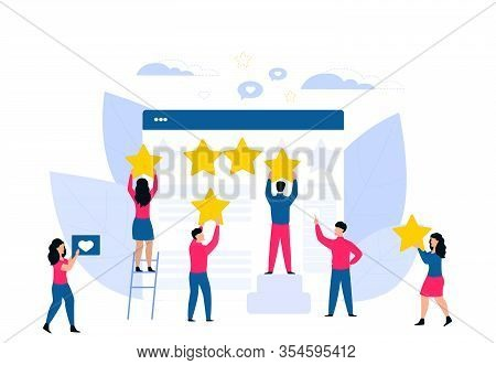 Customer Feedback. Online Review. Rating Flat Vector Concept. Tiny People Cling Stars To The Huge We