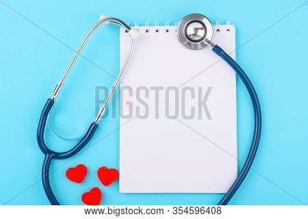 Doctor's Day Concept, Flat Lay Top View, Stethoscope With Peper Note Diagnosis Of Heart Disease