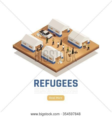 Refugees Asylum Isometric Background With Car That Delivered Humanitarian Aid Into Camp For Immigran