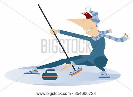 Smiling Young Man Plays Curling Illustration. Man Curling Player With Curling Brush Pushes A Stone T