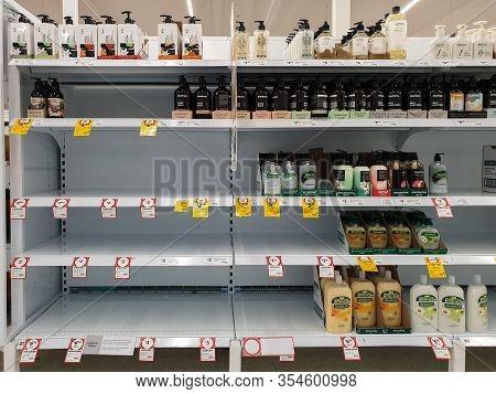 Gold Coast, Australia - March 8, 2020: Coles Supermarket Empty Hand Wash Soap Shelves Amid Coronavir