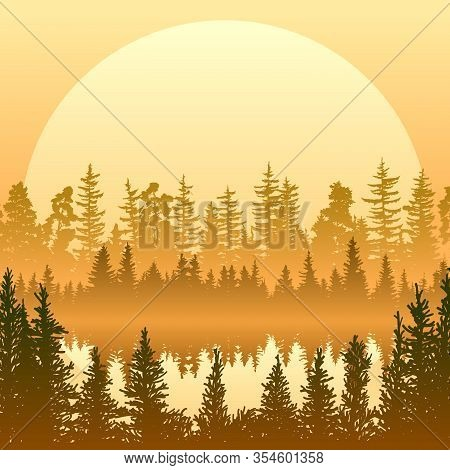Square Illustration Of A Lake In The Middle Of A Misty Coniferous Forest At Sunset.
