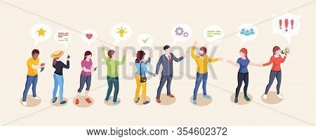 Audience Influence, Social Opinion Leader And Media Influencer Creative Concept. Influencer Woman Wi