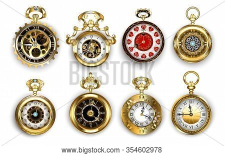Set Of Old, Jewelry, Antique, Gold Watches, Decorated With Pattern And Brass Gears On White Backgrou