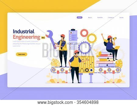 Vector Illustration For Industrial And Machinery Engineering. Jobs For Maintenance, Operation Of Ind
