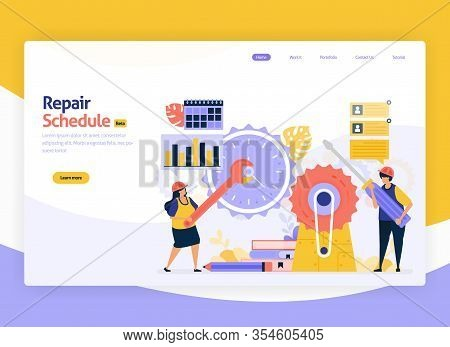 Vector Illustration For Scheduling Of Repair And Maintenance Of Industrial Machines. Time Management