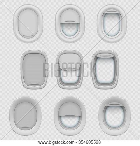 Set Of Isolated Airplane Or Plane Window With Shades. Realistic Opened And Closed, Half-open Porthol