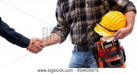 Electrician With Tool Belt On A White Background. Electricity.