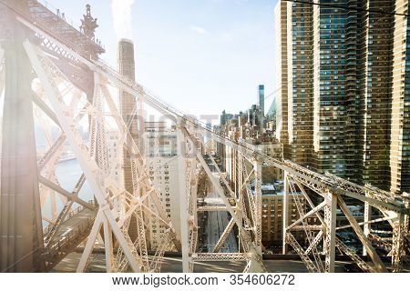 Ed Koch Queensboro Bridge, East River And Buildings Of New York View From Above, Ny, Usa