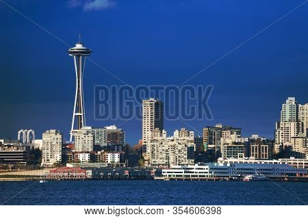 Seattle Downtown Waterfront View With Space Needle Tower And Embarkment, Washington, Usa