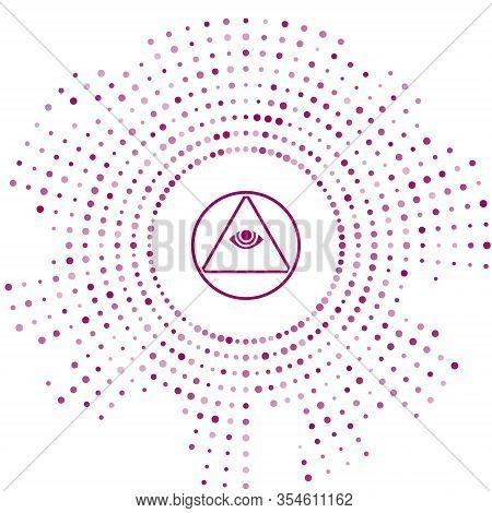 Purple Masons Symbol All-seeing Eye Of God Icon Isolated On White Background. The Eye Of Providence