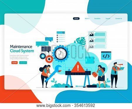 Homepage Landing Page Vector Flat Illustration Of Maintenance Cloud System. Repair And Maintenance O