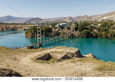 Cable-stayed Bridge Across The Naryn River In The City Of Tash-kumyr In Kyrgyzstan