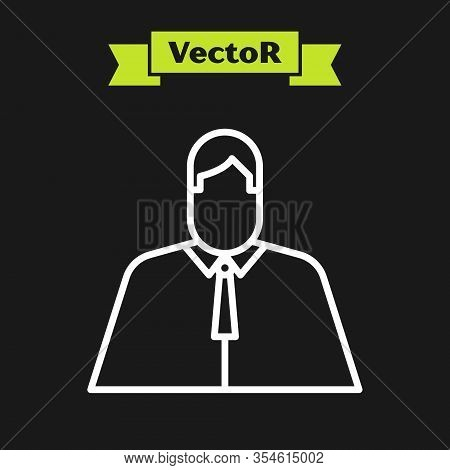 White Line Lawyer, Attorney, Jurist Icon Isolated On Black Background. Jurisprudence, Law Or Court I