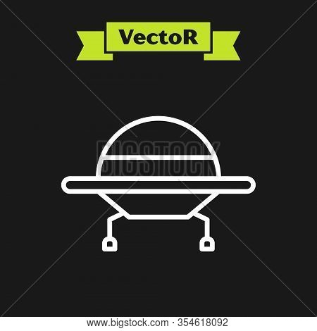 White Line Ufo Flying Spaceship Icon Isolated On Black Background. Flying Saucer. Alien Space Ship.