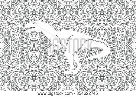 Monochrome Linear Illustration For Coloring Book With White Dinosaur Silhouette On The Beautiful Bac