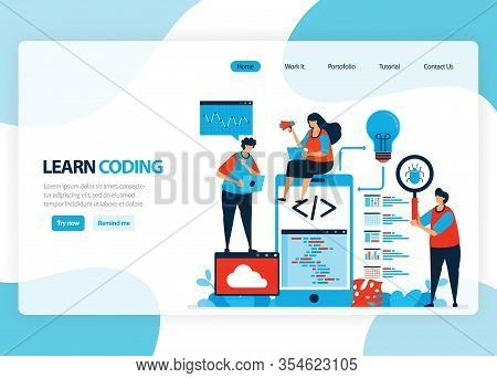 Vector Homepage For Learning Programming And Coding. Application Development With A Simple Programmi